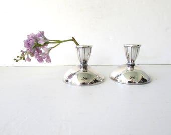 Vintage Oneida Silverplate Candlesticks - Silverplate Modern Style Oneida - Candlestick Holders - Clean Lined Silverplate Candlesticks -