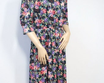 Vintage Dress Floral 1980's Ruched Casual Office Secretary Church Size 12 Petite