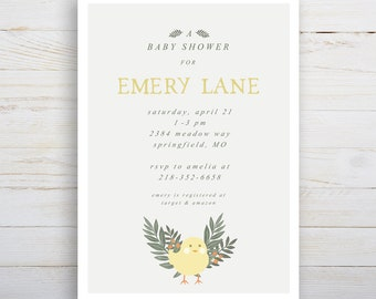 Baby Chick Baby Shower, Printable Invitation