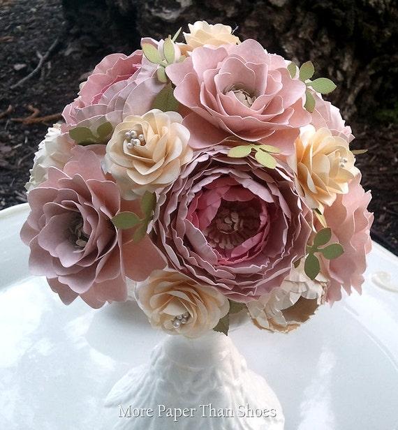 Paper Flower Bouquet Shabby Chic Wedding Bouquet Bride
