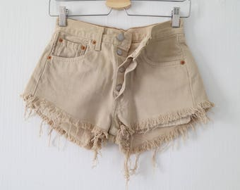 High waisted shorts, Levis 501, beige denim, 4 buttons fly, frayed ripped, hotpants, waist 26, x small