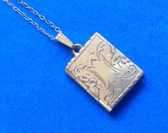 Vintage! Gold filled locket & chain w/old picture.Engraved book shaped locket.