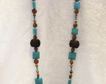 Brown and Turquoise Handmade Beaded Necklace (CC-0416-17)