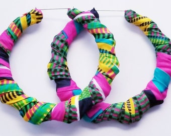 Pink Multicolored Fabric Hoops