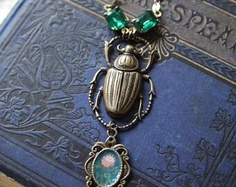 "Necklace - illustrated necklace - vintage necklace - scarab - ""Flora Prothea"""