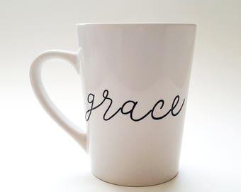 Grace Mug, Grace Upon Grace, Coffee Mugs, Tea Mugs, Black and White Mug, Mugs, Christian Mug, Scripture Mug, Gift for Her, Inspirational Mug