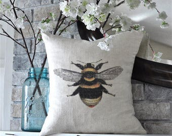 """Bumble Bee on 100% Linen Pillow Cover - 18"""" x 18"""""""
