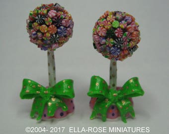 12th scale miniature handcrafted Pair of Candy Trees