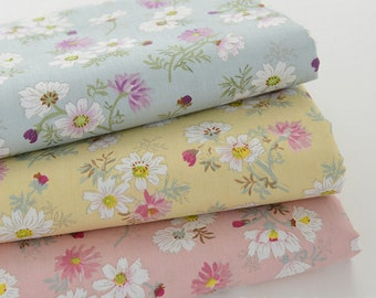 Sale - Daisy Floral Cotton Fabric, White Daisy on Light Blue Yellow Pink Cotton - A Half yard
