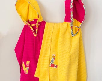 Hooded Towel Poncho, Personalized, in Bright Pink & Yellow. Boy or Girl print (your choice). Bath Towel. Beach towel.