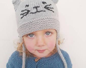 Cat ears hat, hat with ears,  child cat hat,hat with cat ears, child aviator hat, cat hat, baby animal ears hat, cat beanie hat, child size