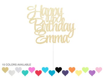 Custom Happy Birthday Cake Topper Gold or Any Color - Party Supplies