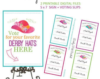 Kentucky Derby Game - Kentucky Derby Party Decorations - Kentucky Derby Party - Derby Game - Derby Party - Hat Contest - Printable