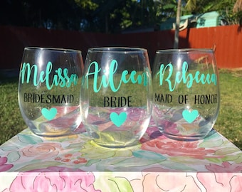 Personalized Bridesmaid 21 oz. Stemless Wine Glass | Bridesmaid Gift | Maid of Honor Gift | Bridal Party Gift
