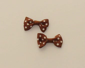 5 bowties coffee color polka 30x15mm