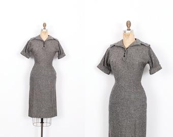 Vintage 1950s Dress / 50s Wool Tweed Wiggle Dress / Gray ( small S )
