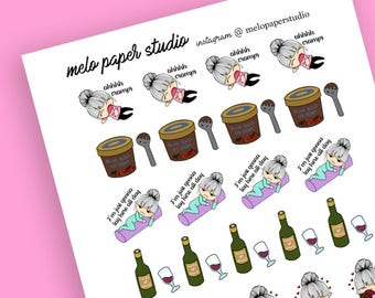 PMS Stickers Kawaii Cute Chibi / Erin Condren / Chocolate / Wine / Cravings / Candy / Alcohol  / Cramps / Time of the Month / Ice Cream