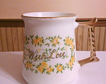 1979 Enesco yellow roses mug, with love quote mug gift for her