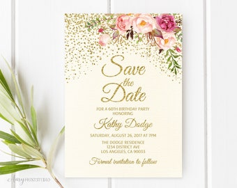 Save the Date, Birthday Save the Date, Floral Ivory Save the Date, Any Age, PERSONALIZED, Digital file, #S01