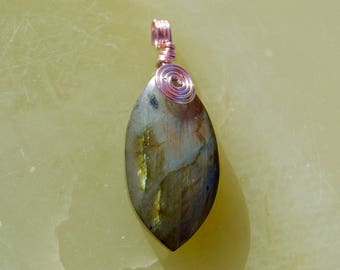 Wire-Wrapped Labradorite Pendant