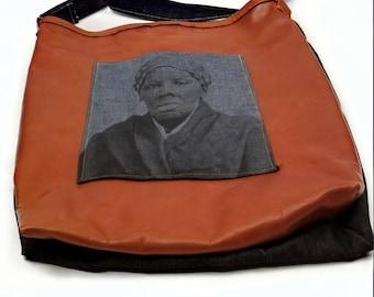 Handmade Harriet Tubman Distressed Leather Denim Crossbody Bag