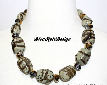 Unique Porcelain and Crystal Beaded Statement Necklace with Green and Bronze Porcelain Beads and Bronze Crystals