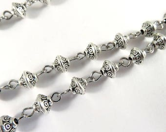 "Handmade Chain Antique Silver Beads 6x5mm Tribal Bicone Saucers, Not Soldered - 39.3"" - STR9100CH-AS39"