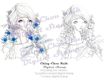Hello Dragonfly - PRINTABLE Instant Download Digital Stamp / Flora Flower Insect Animal Fairy Faery Girl Art by Ching-Chou Kuik