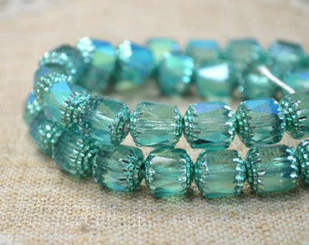 40pcs 10mm Round Cathedral Beads Czech Glass Teal Apollo AB