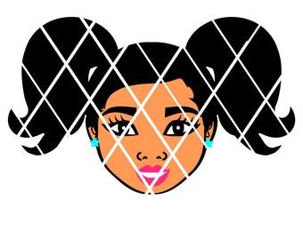 Little Girl svg, Ponytails svg,Sistah svg,Silhouette svg,t-shirt designs,black girl hair,Afro puff,Black Girlsvg,African American svg
