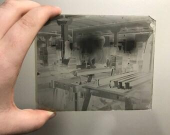 Antique factory glass negative photo