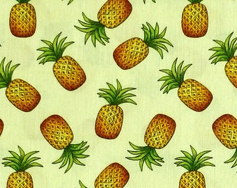 Blank Quilting Pink Lady - tropical pineapple fruit fabric by Karen Embry - Yellow - Per 1/2 metre - 100% Cotton