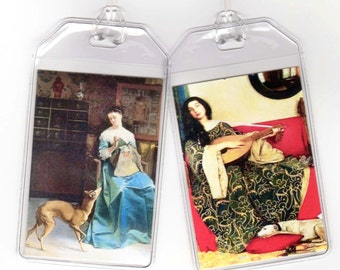 SueBero Set of 2 Greyhound Luggage Tags - Altered Vintage Art Ladies and Whippets