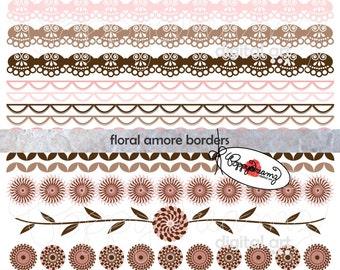 Floral Amore Borders: Digital Scrapbook Paper Pack (300 dpi) Wedding Bridal Baby Shower Floral Brown Pink