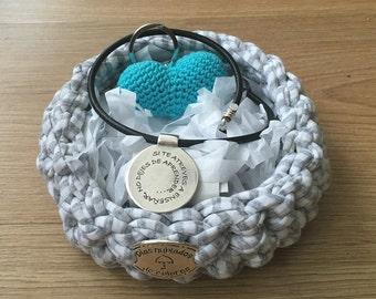 Personalized teacher basket,  zamak pendant teacher, handmade blue heart