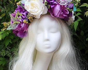 Purple and White Flower Crown, Butterfly, Purple, Flower Crown, Floral Crown, Headpiece, Fairy, Renaissance, Costume
