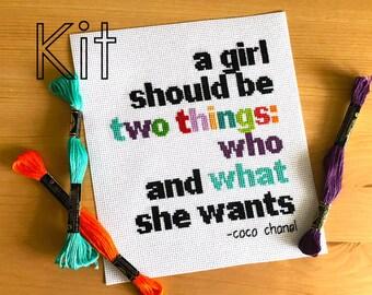 Cross stitch kit, girl goals, counted cross stitch kit