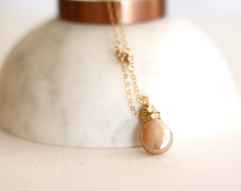 Peach Moonstone Necklace Rosegold, Silver or Gold Bridesmaid gift peach gemstone pendant wedding necklace Dainty gift for her VitrineDesigns