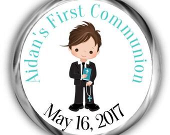 Boy Communion Hershey Kisses Sticker - Personalized First Communion Stickers