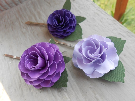 Flower Hair Pins. CHOOSE YOUR COLORS. Wedding , Bridal Hair Accessories, Clip. Paper Flowers. Bride, Bridesmaid, Flower Girl. Purple