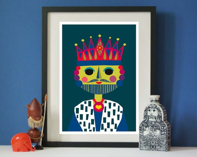 The King by Jay Kaye  A3 print  Bright  Colourful print wall Art Fun