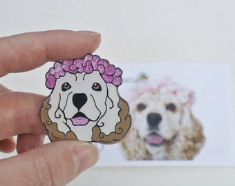 Enamel Glitter Pin Rescue Dog -- Lily!