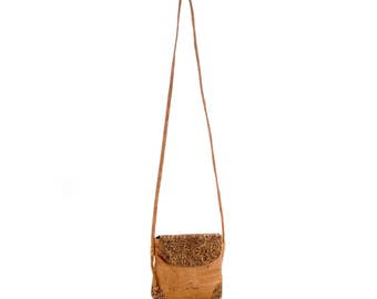 Cork Crossbody bag (Natural Cork Color & brown cornucopias) / Shoulder Strap Bag - FREE SHIPPING WORLWIDE - Vegan Eco-Friendly Gift Idea