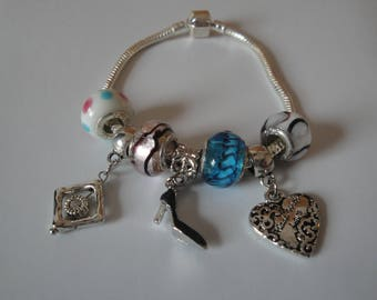 Gorgeous SILVER and LAMPWORK bead BRACELET