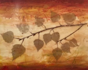 "Encaustic Art 16""x16"" Red Gold Cream Wax Painting with Leaf collage on 1.5"" wood panel"