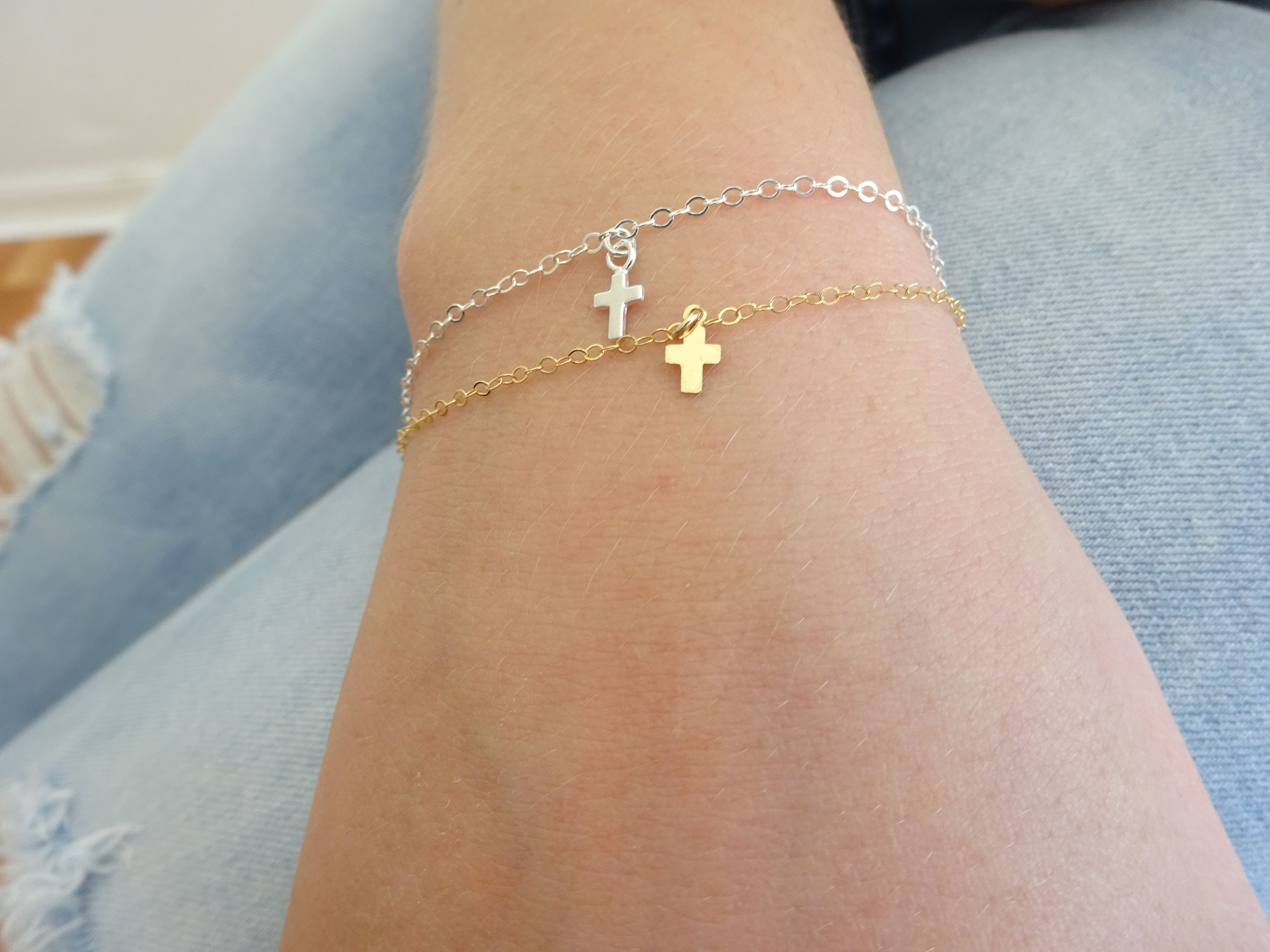 diamond bracelet cross bracelets pin sideways horizontal with
