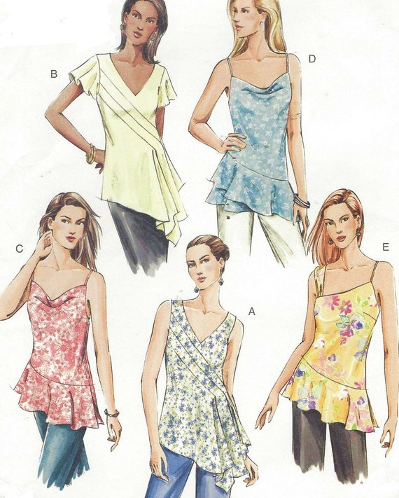 Womens Bias Cut Summer Tunics OOP Vogue Sewing Pattern V7878 Size 6 ...