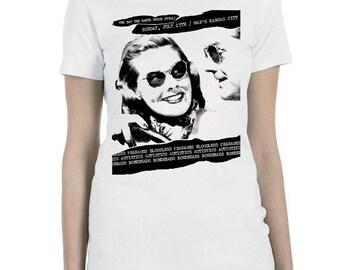Original Bloodless Pharaohs Flier Artwork designed in 1979, silkscreened in black ink on a 100% cotton Ladies-Cut White T Shirt