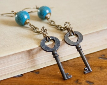 Long Dangle Skeleton Key Earrings Blue Ceramic Beads Vintage Key Earrings boho earrings bohemian jewelry artisan jewelry