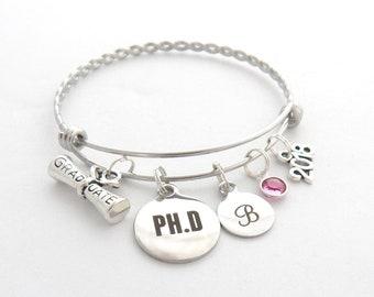 PhD Gift, PhD Graduation Bracelet, PhD Jewelry, PhD Science Biology Chemistry College Graduation, Doctor of Philosophy, University Graduate